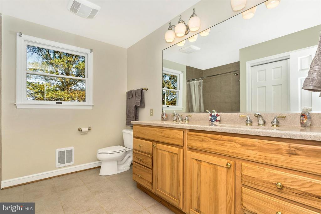 2nd Floor Full Bath-Double Bowl Hickory Vanity - 3829 PURDUM DR, MOUNT AIRY
