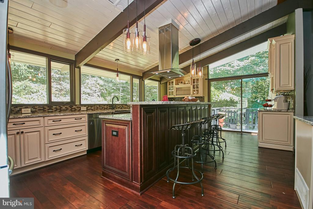 Custom kitchen, vaulted ceiling, sliders to deck. - 6704 BRIARCROFT ST, CLIFTON