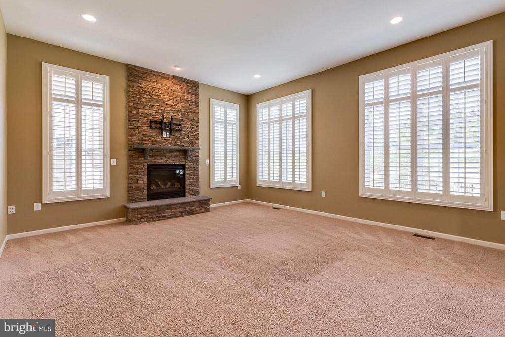 Family Room boasts gorgeous stone fireplace - 23221 FALLEN HILLS DR, ASHBURN