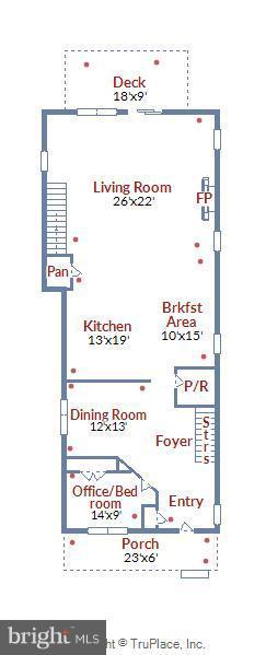 Main level floorplan - 5656 5TH ST N, ARLINGTON