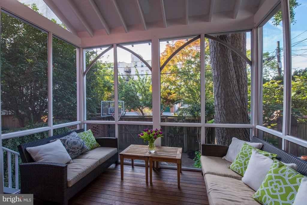 Inviting porch with views of