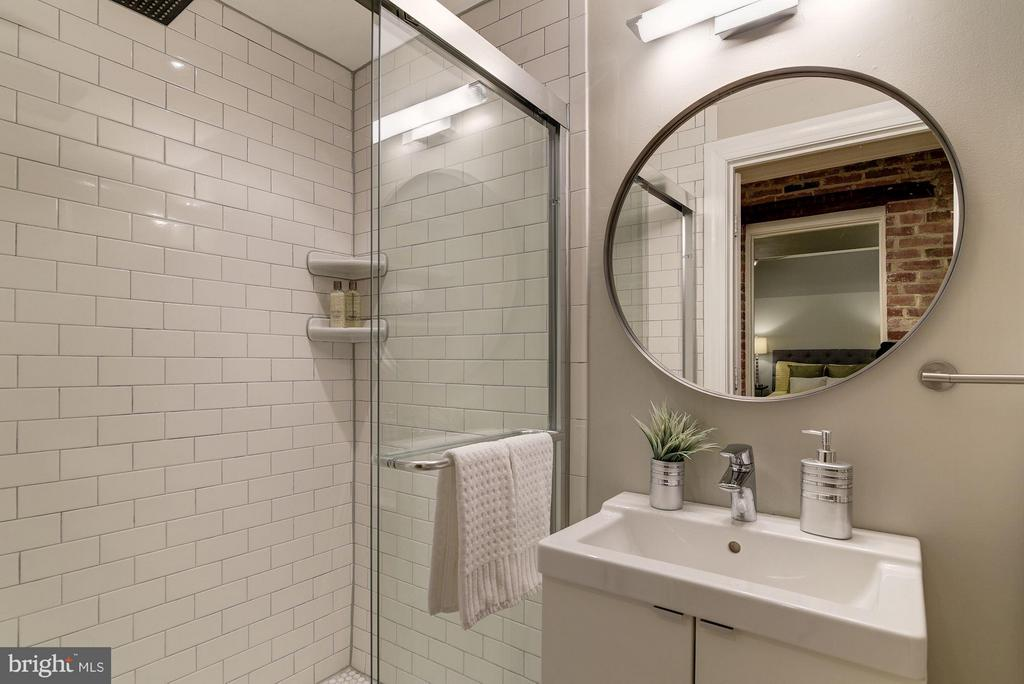 Second Bath with Custom Tiled Glass Door Shower - 1217 N ST NW #1, WASHINGTON