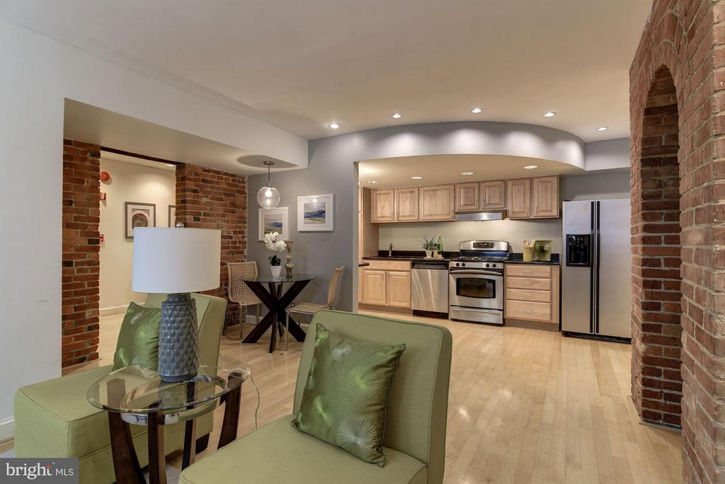 Open Kitchen with Breakfast Table - 1217 N ST NW #1, WASHINGTON