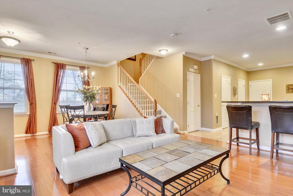 Family Room Leads to Kitchen and Dining Room - 22642 VERDE GATE TER #4G, ASHBURN