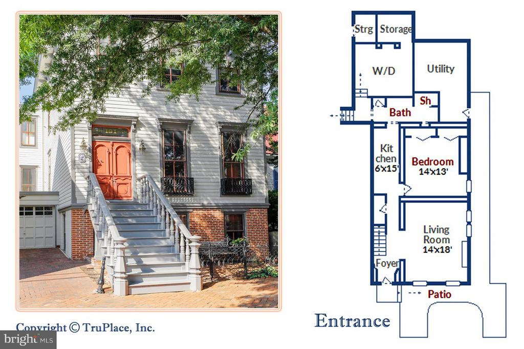 1 Bedroom / 1 Bath Apartment Floor Plan - 191 PRINCE GEORGE ST, ANNAPOLIS