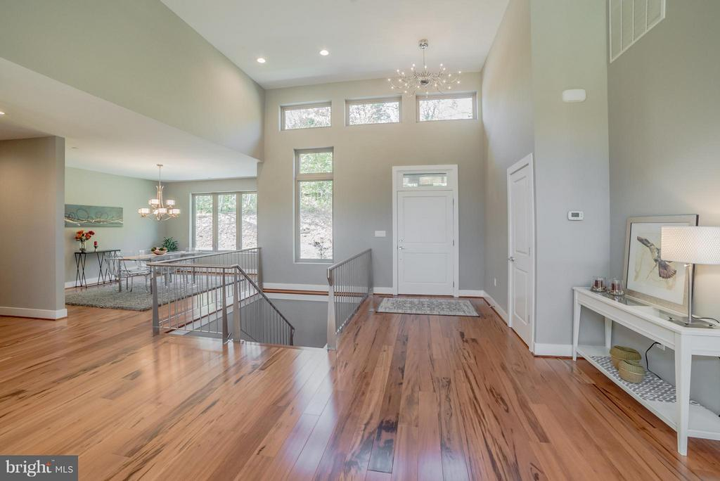 Open foyer and contemporary metal railing - 36942 WALNUT PARK LN, PURCELLVILLE