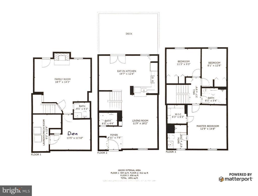 Floor Plan All Three Levels - 1478 AUTUMN RIDGE CIR, RESTON
