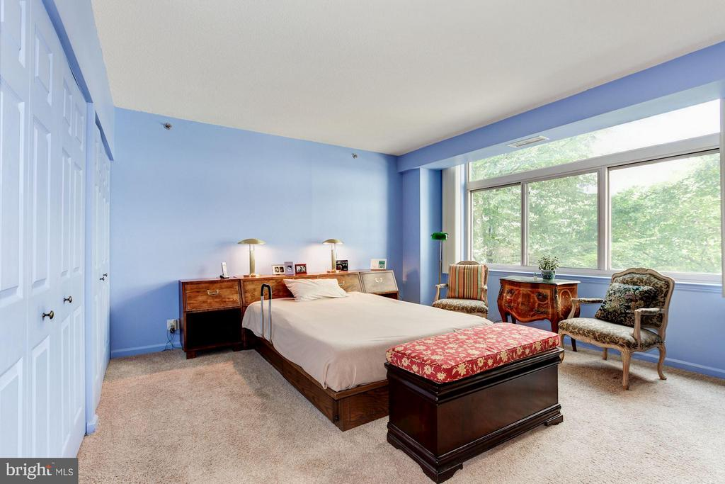 Master bedroom with huge windows overlooking trees - 5610 WISCONSIN AVE #406, CHEVY CHASE