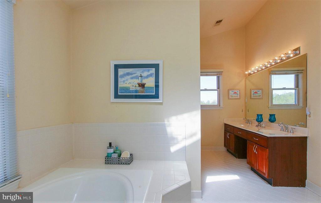 Light filled ensuite bath, dual sinks, custom tile - 42064 BLACK WALNUT LN, LEESBURG