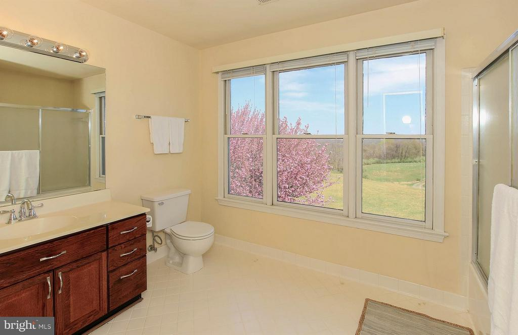 Upper level bath with cherry cabinets, custom tile - 42064 BLACK WALNUT LN, LEESBURG