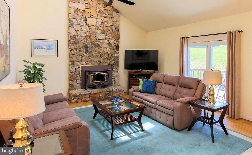 Floor to ceiling stone fireplace with wood stove - 42064 BLACK WALNUT LN, LEESBURG