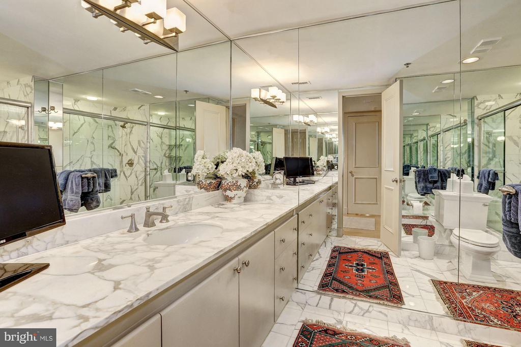 Bath w/ marble floors, counters and shower wall - 5610 WISCONSIN AVE #1606, CHEVY CHASE