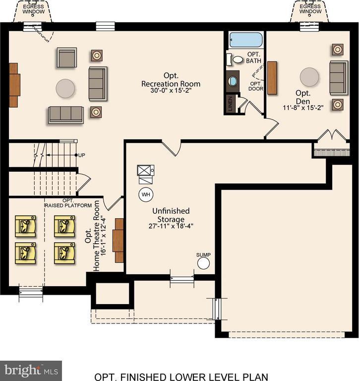 Basement Floorplan w/ Additional Upgrade Options - 7773 JULIA TAFT WAY, LORTON