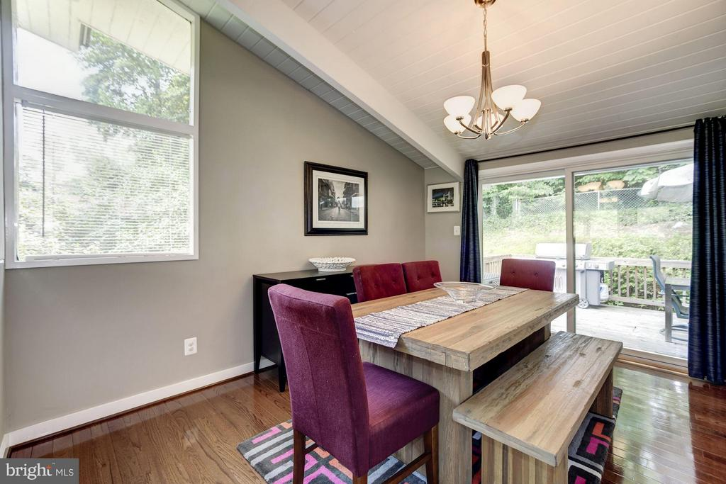 DINING ROOM - HARDWOOD FLOORS, OPENS TO DECK! - 6415 RECREATION LN, FALLS CHURCH