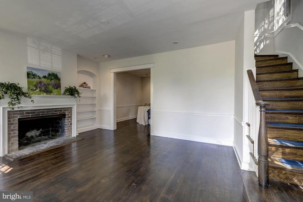 Living room with fireplace and beautiful molding - 1533 FOXHALL RD NW, WASHINGTON