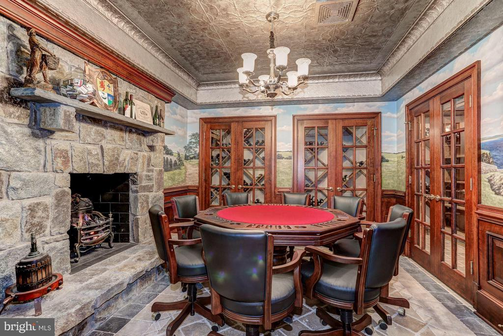 Card room with fireplace hand painted murals - 7984 GEORGETOWN PIKE, MCLEAN