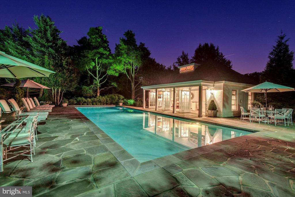 Pool and pool house at Night - 9325 BELLE TERRE WAY, POTOMAC