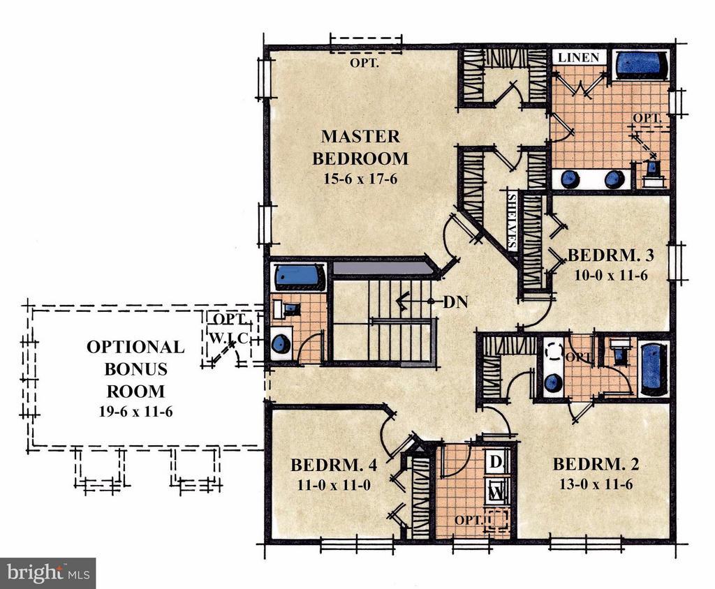 Upper level layout - 1504 SIRANI LN, GAMBRILLS