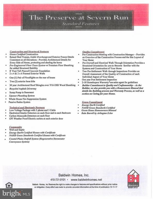 General Specifications - 1503 SIRANI LN E, GAMBRILLS