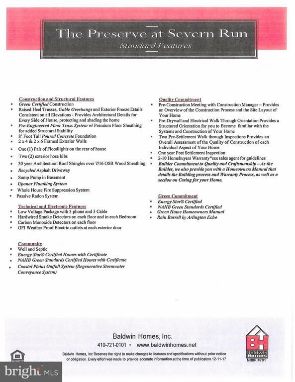 General Specifications - 1509 SIRANI LN, GAMBRILLS