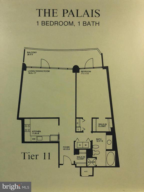 Floor Plan for The Palais - 1200 CRYSTAL DR #211, ARLINGTON