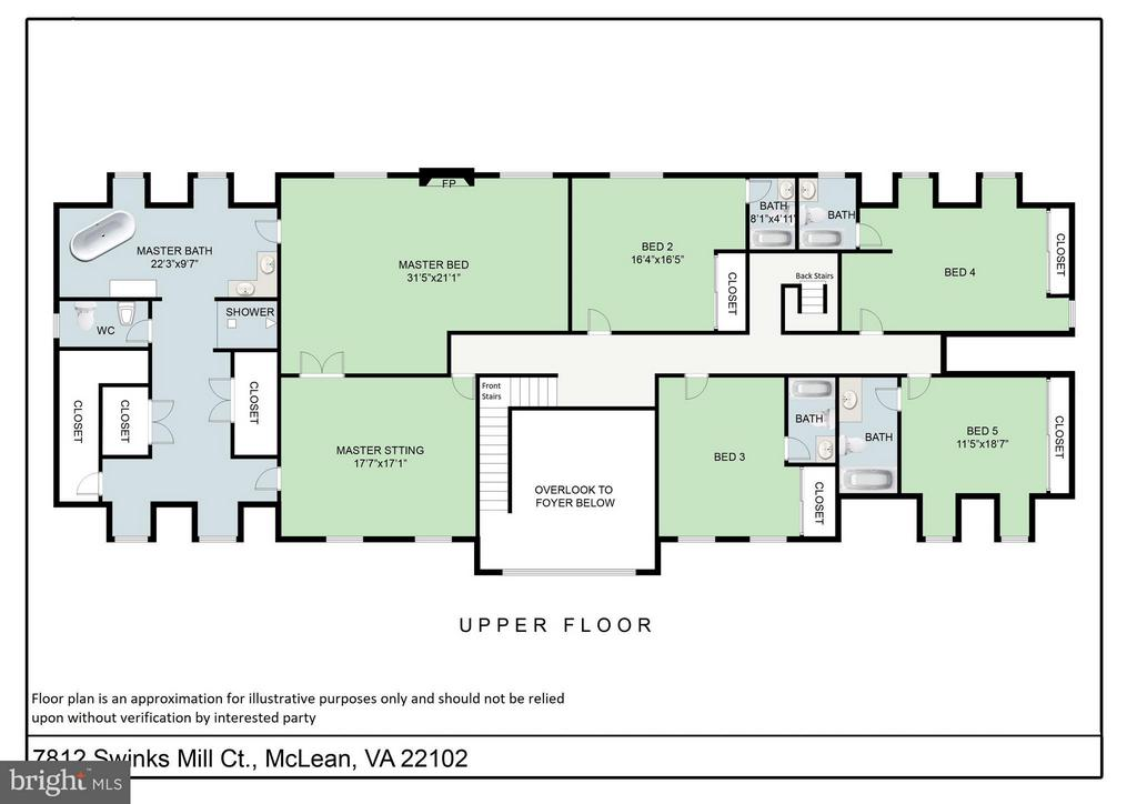 Upper Level floor plan - 7812 SWINKS MILL CT, MCLEAN