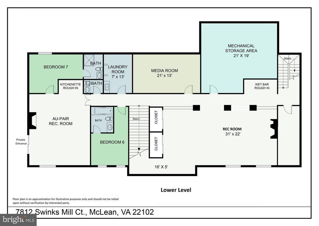 Lower Level floor plan - 7812 SWINKS MILL CT, MCLEAN