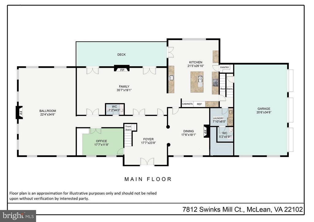 Main Level floor plan - 7812 SWINKS MILL CT, MCLEAN