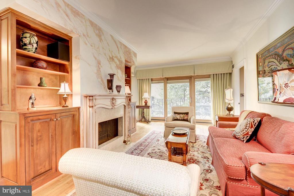 Living room w/ Venetian plaster fireplace - 2301 CONNECTICUT AVE NW #2C, WASHINGTON