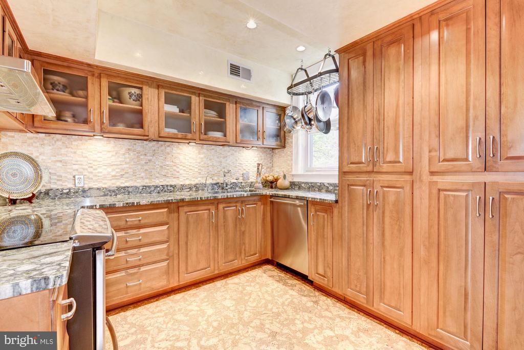 Gourmet kitchen; custom cabinetry, Onyx backsplash - 2301 CONNECTICUT AVE NW #2C, WASHINGTON