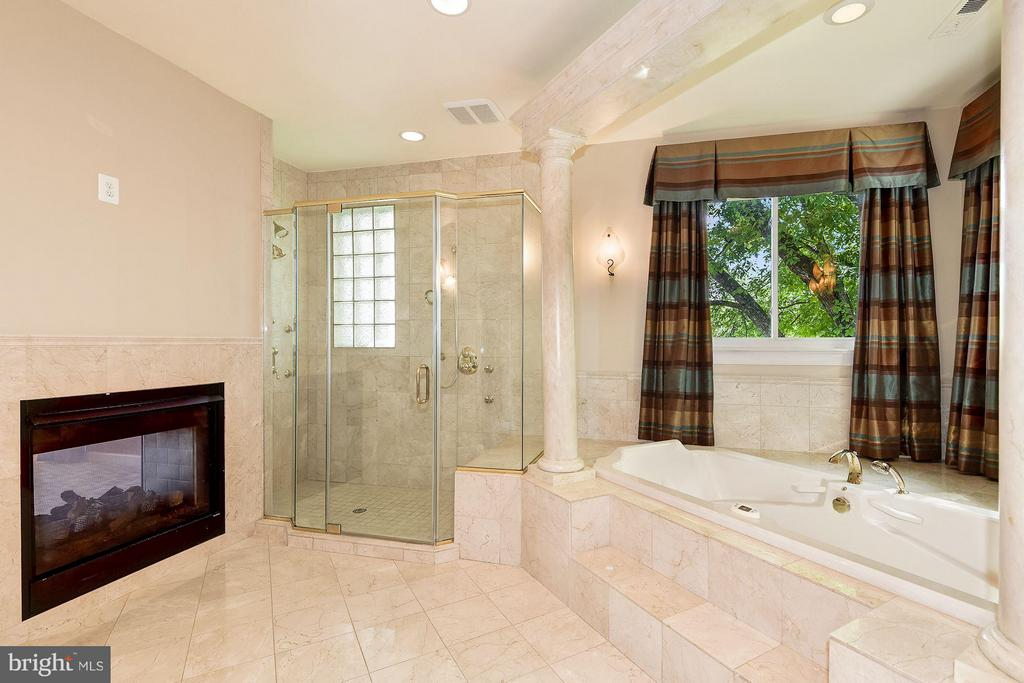Master Bath w/ Fireplace, Double Shower, Sep Tub - 1416 WYNHURST LN, VIENNA