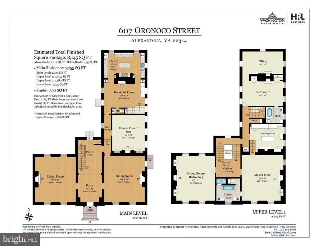 Main & Second Level Floor Plans - 607 ORONOCO ST, ALEXANDRIA