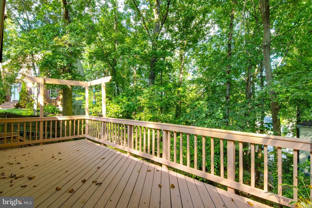 Birds flock to this large deck overlooking trees - 4087 CAMELOT CT, DUMFRIES