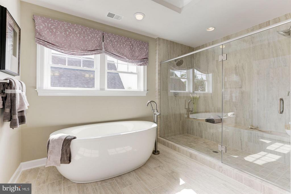 Owner's bath with soaking tub and frameless shower - 40736 WILD PLUM DR, ALDIE