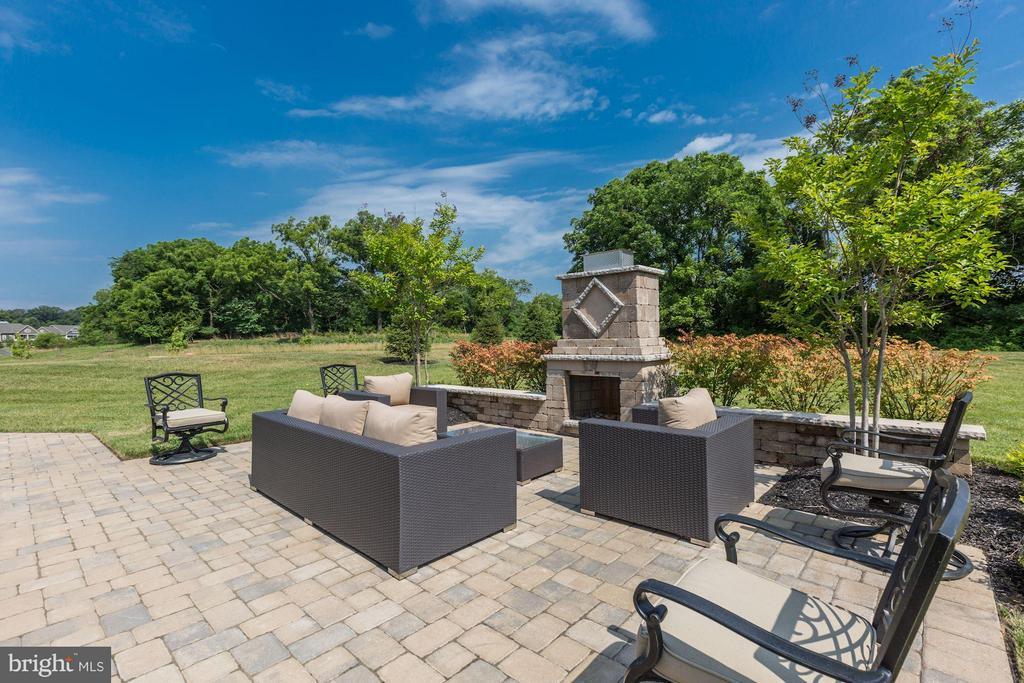 Patio and stone fireplace back to trees - 40736 WILD PLUM DR, ALDIE