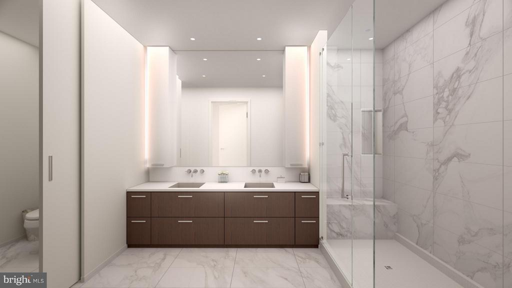 Italian cabinetry, frameless shower, quartz tops. - 8399 WESTPARK DR #2307, MCLEAN
