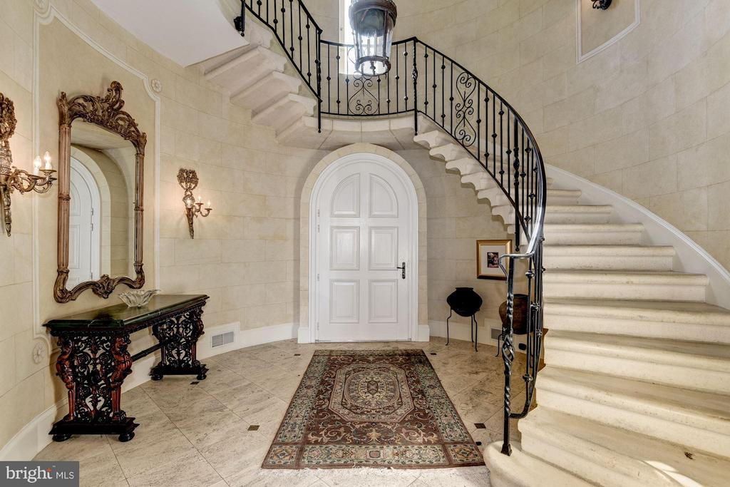 Grand Staircase with marble tile floors and stone - 7705 NORTHDOWN RD, ALEXANDRIA