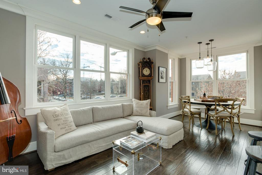 Fabulous light in the upper unit living room - 1223 5TH ST NW, WASHINGTON