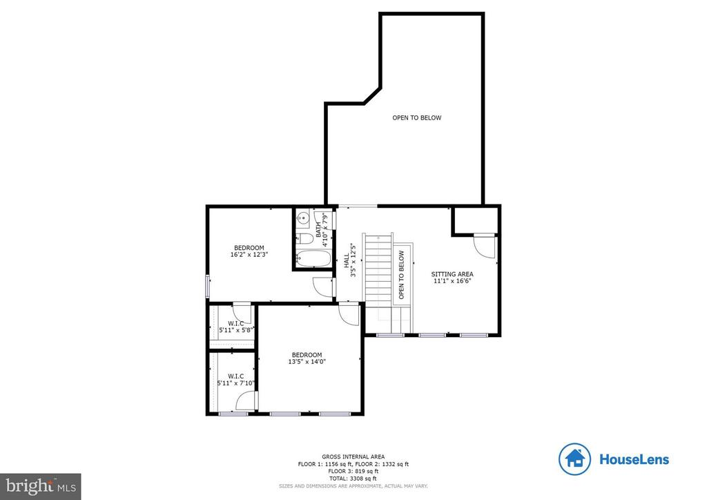 Upper level floor plan - 209 UPPER HEYFORD PL, PURCELLVILLE