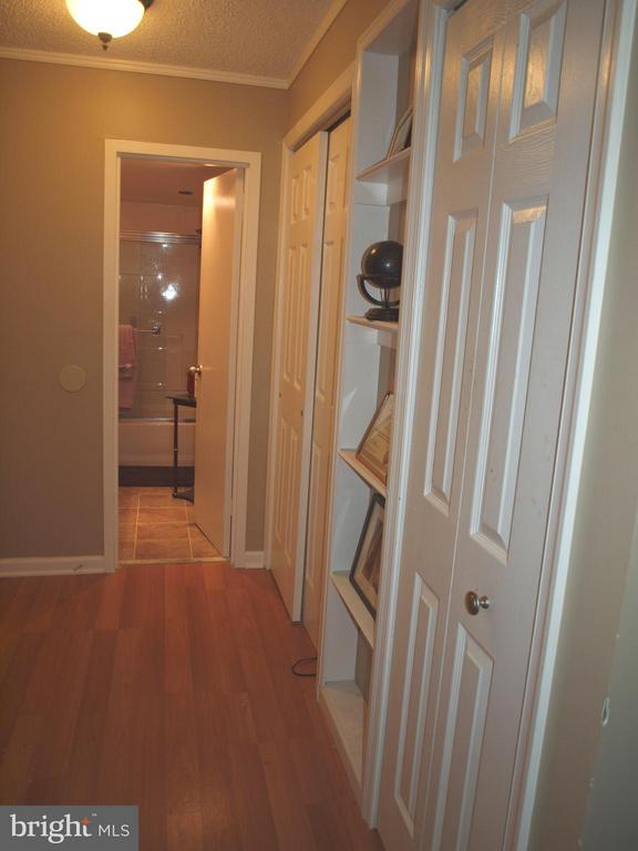 Hallway with bookcase and closets - 1325 18TH ST NW #207, WASHINGTON