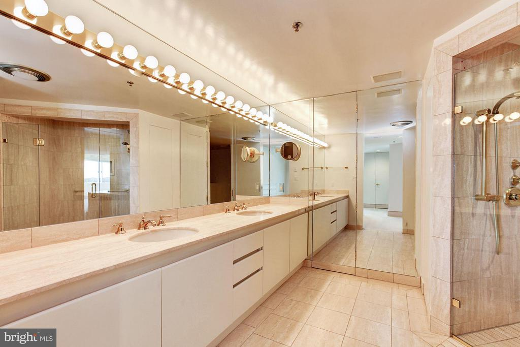 Master bath with dual sinks & walk-in shower - 5600 WISCONSIN AVE #803, CHEVY CHASE