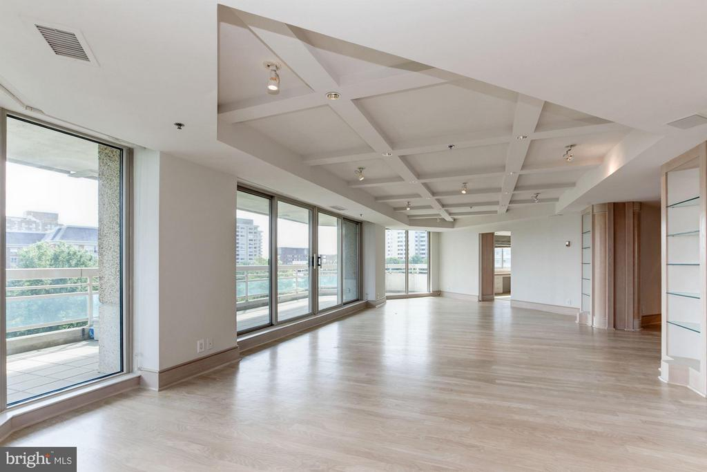 Living Room with wall-to-wall sliders to balcony - 5600 WISCONSIN AVE #803, CHEVY CHASE