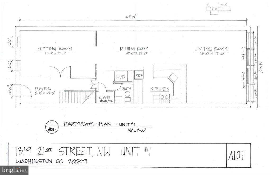 Main Floor Layout - 1319 21ST ST NW, WASHINGTON