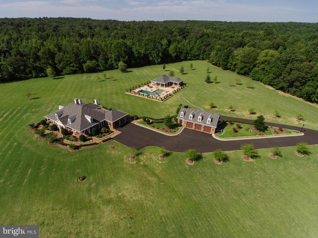 Aerial View Main House-pool house-Detached garage - 550 MOUNT OLIVE RD, FREDERICKSBURG