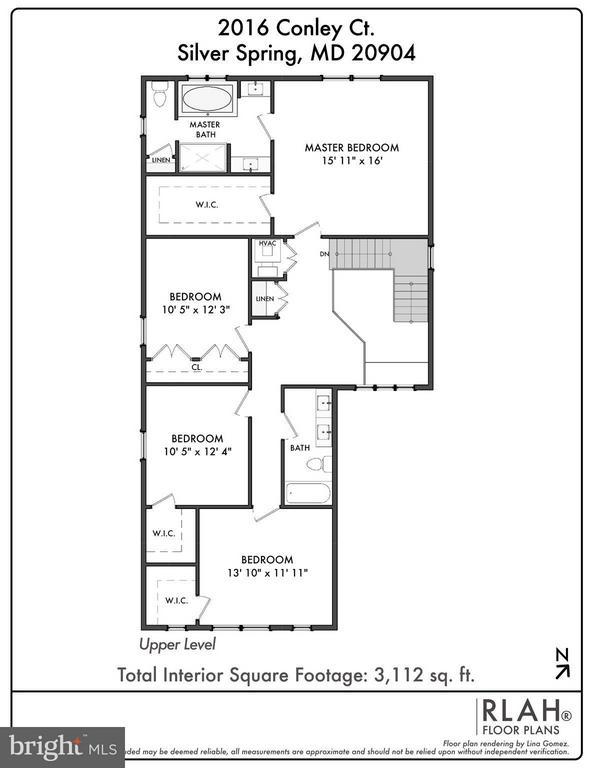 Upper Level Floor Plan - 2020 CONLEY CT, SILVER SPRING