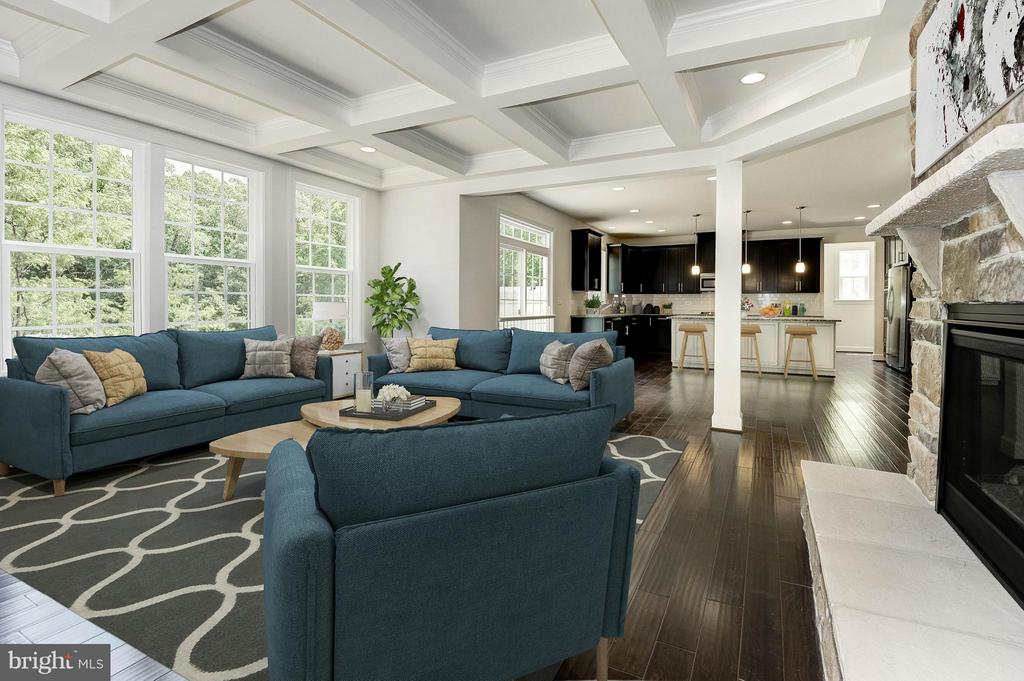 Family Room with Coffered Ceiling - 4641 HOLLY AVE, FAIRFAX