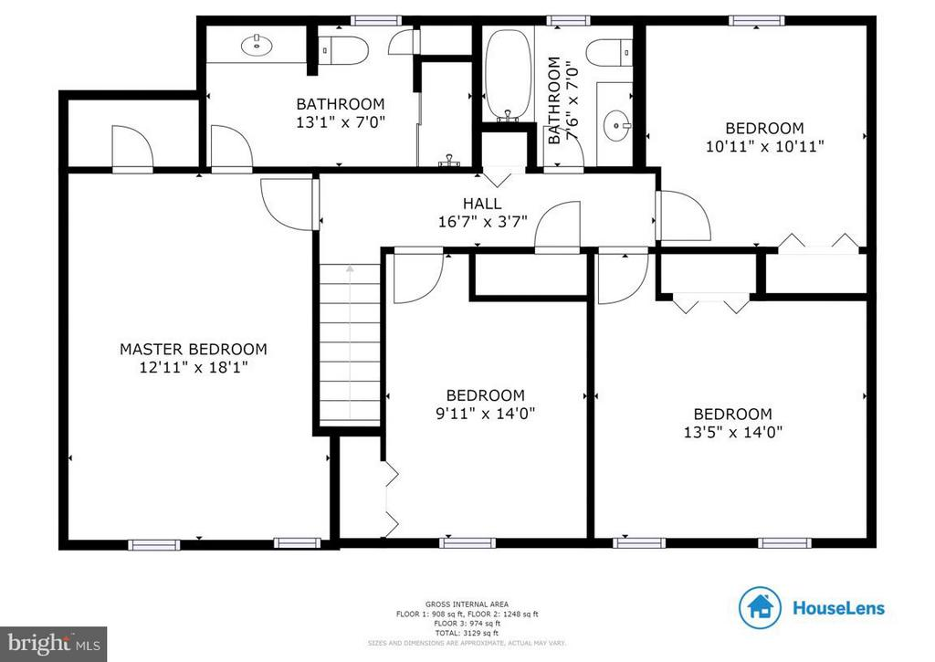Upper level floor plan - 304 COUNTRY CLUB DR SW, LEESBURG