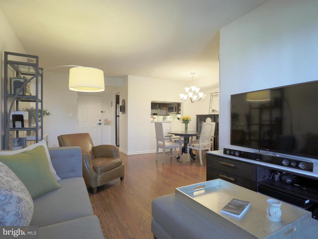 View From Living Room to Dining Room & Kitchen - 2400 CLARENDON BLVD #503, ARLINGTON