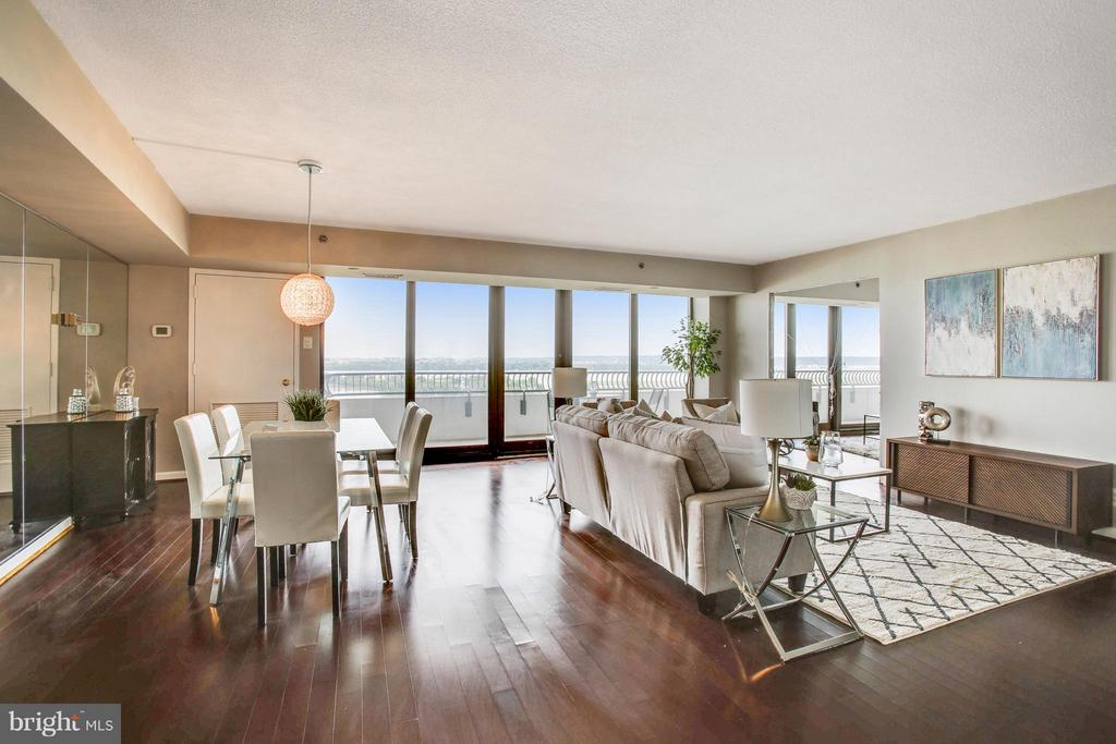 Open Living Room -Dining-Window Walls to Balcony - 1200 CRYSTAL DR #1112, ARLINGTON