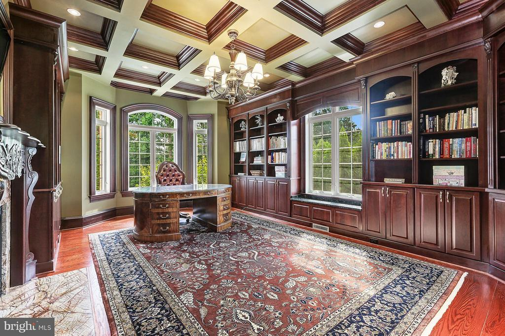 Custom built Cherry Wood Library - 8334 ALVORD ST, MCLEAN